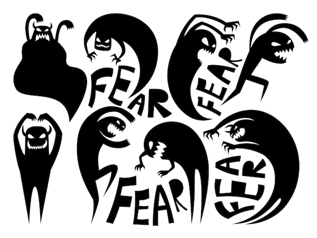 Fear silhouettes. anxiety and disorder icons