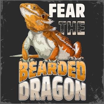 Бойтесь бородатого дракона надписи с нарисованным вручную детализированным бежевым бородатым драконом в сплошных цветах
