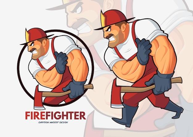 Fearless fire fighter cartoon mascot design