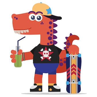 Fearless orange dinosaur with a skateboard and a soda. cartoon style. illustration. flat design style.