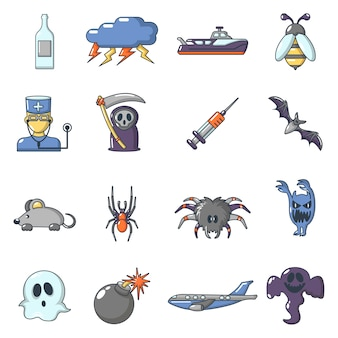 Fears phobias icons set