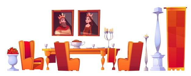 Feast table with food in castle dining room set