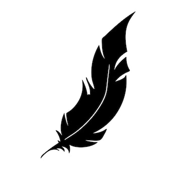 Feather of birds black feather silhouette for logo vector set