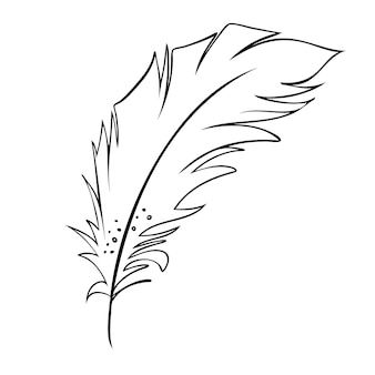 Feather of birds black and white feather silhouette for logo vector set