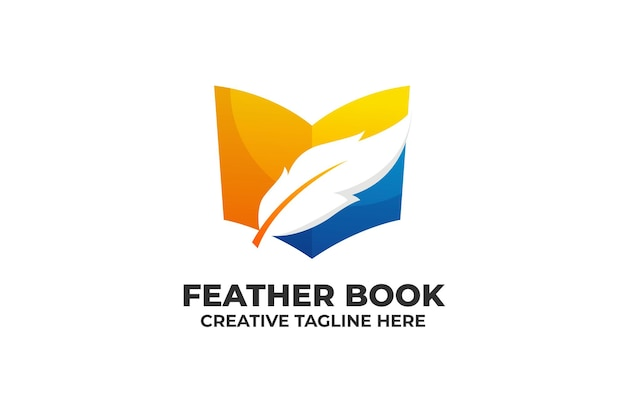 Feather book library logo