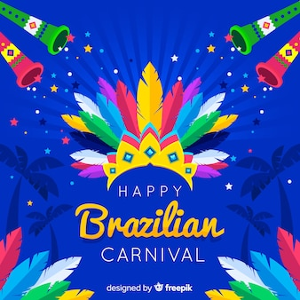 Feather crown brazilian carnival background