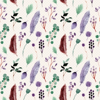 Feather and foliage watercolor seamless pattern
