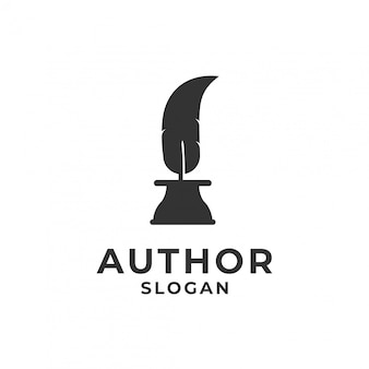 Feather ink pen for author logo.