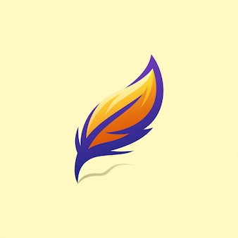 Feather logo design illustration