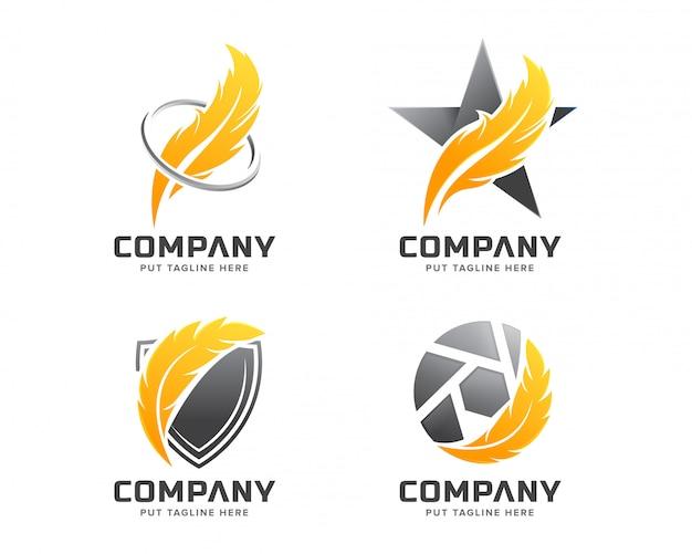 Шаблон логотипа перо для компании