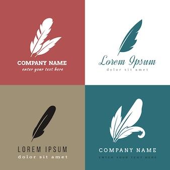 Шаблоны логотипов перо.