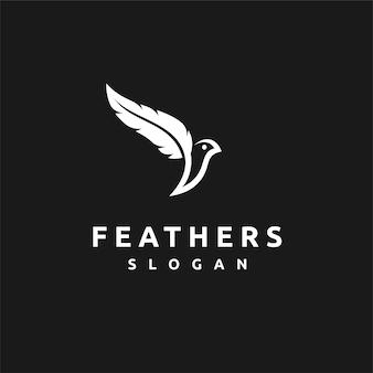 Feather logo with bird concept