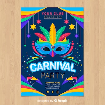Feather mask brazilian carnival party poster