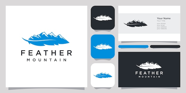 Feather and mountain hill abstract logo and business card