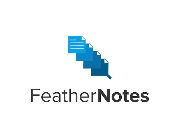Feather and notes simple sleek creative geometric modern logo design