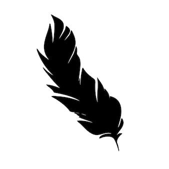 Перо птиц черное перо силуэт для логотипа векторный набор