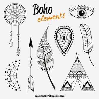 Elementi di piume e altri in stile boho