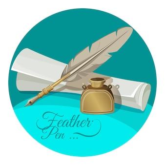 Перо и чернильница возле бумажной рукописи в круге, изолированном на белом. чернильница с пишущим предметом в стиле ретро в реалистичном дизайне
