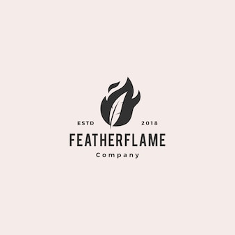 Feather pen fire flame logo hipster