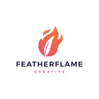 Feather pen fire flame logo vector icon