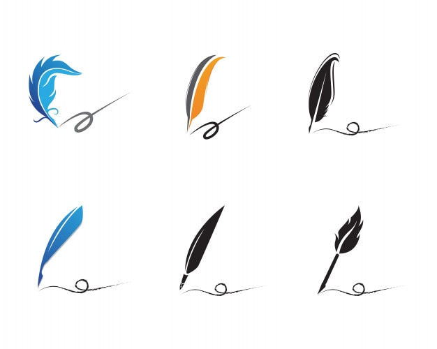 Feather pen write sign logo