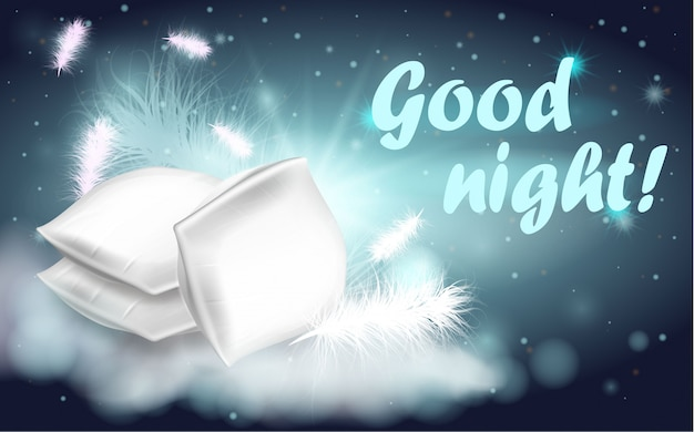 Feather pillows written good night banner cartoon