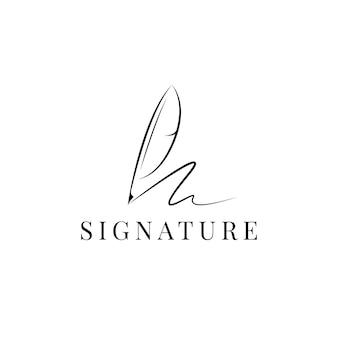 フェザー羽ペン署名ロゴデザインベクトル