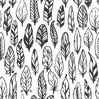 羽の素朴なシームレスパターン。手描きのヴィンテージのイラスト