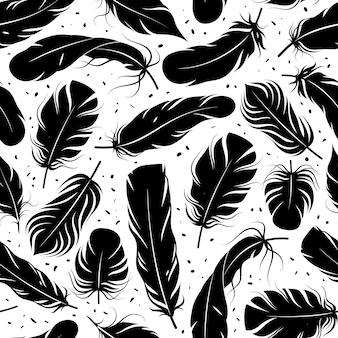 羽のシームレスなパターン。湾曲した黒い羽のシルエット、グラフィックのシンプルな形のペンの装飾的な要素。クリエイティブなデザインのテキスタイル、包装紙、白い背景の上の壁紙ベクトルテクスチャ