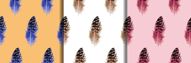 Feather seamless pattern set for fashion boho textile prints repeat backgrounds