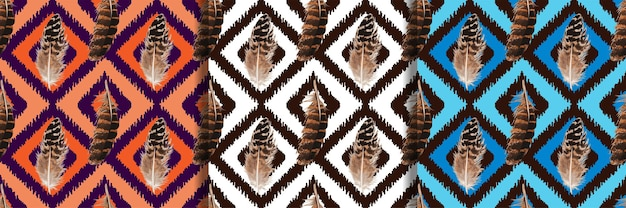 Feather seamless patterns set for textile prints