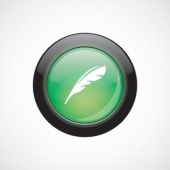 Feather sign icon green shiny button. ui website button