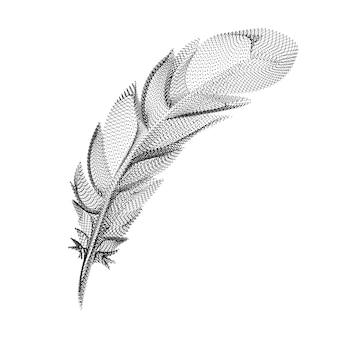 검은 점과 입자로 구성된 깃털 실루엣. 곡물 질감이 있는 새 깃털의 3d 벡터 와이어프레임. 흰색 배경에 고립 된 점선 구조로 추상적인 기하학적 아이콘 프리미엄 벡터