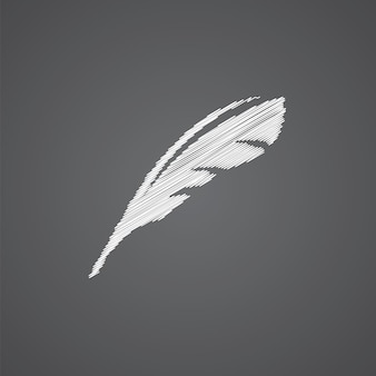 Feather sketch logo doodle icon isolated on dark background