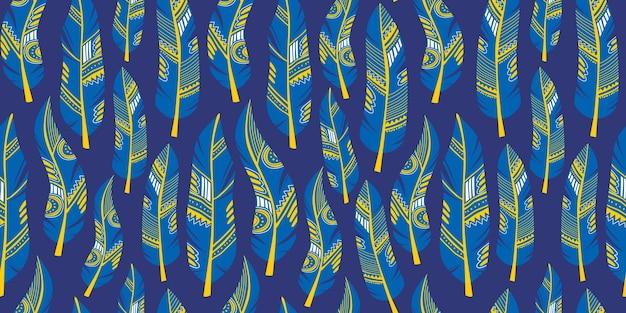 羽の部族のシームレスなパターンの青い色のテーマ
