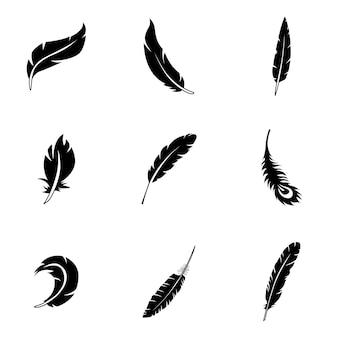 Feather vector set. simple feather shape illustration, editable elements, can be used in logo design