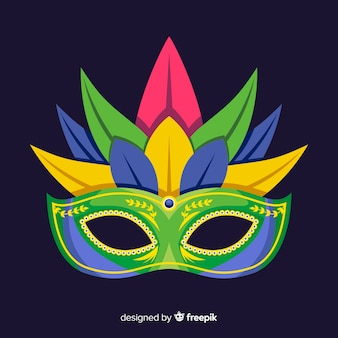 Feathered mask brazilian carnival background