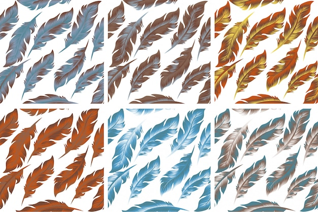 Feathers bird seamless pattern set. retro, doodle style. feather endless background, texture, backdrop.  illustration.