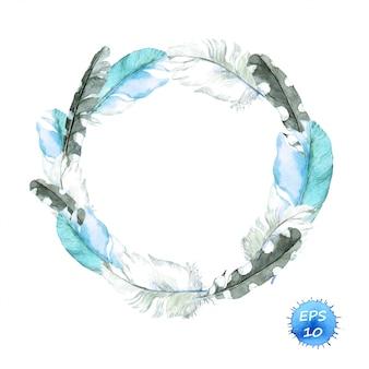 Feathers of blue bird. wreath border.
