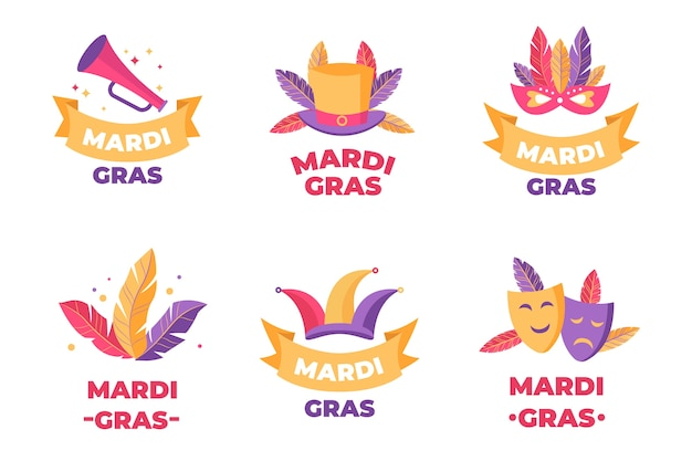 Feathers and costumes mardi gras badge collection