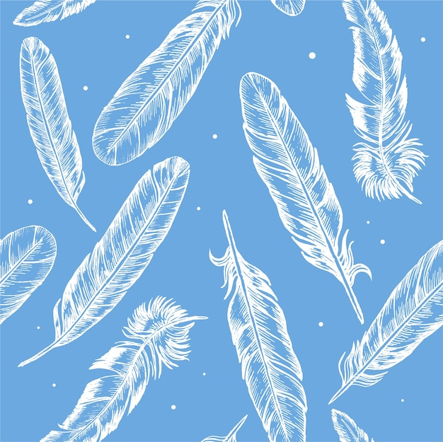 Feathers hand draw sketch boho or ethnic style background pattern on blue.