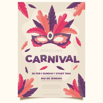 Feathers on mask hand drawn carnival party poster