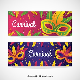 Feathers masks carnival banners pack