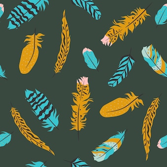 Feathers seamless pattern in boho style. vector graphics.