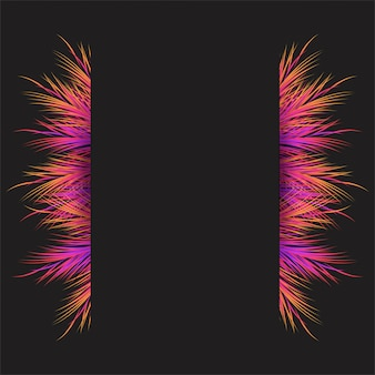 Feathery frame with colorful objects background