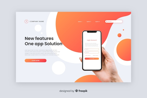 Features technology landing page