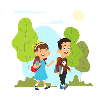 Featuring a young boy and girl going to school