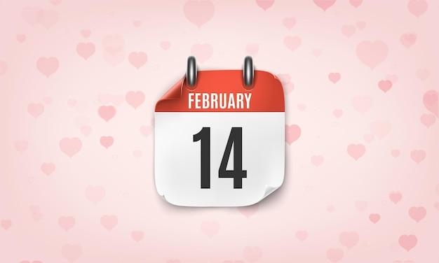 핑크 하트에 2 월 14 일 현실적인 달력 아이콘입니다.