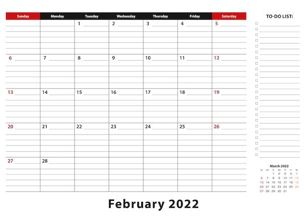 Февраль 2022 г. ежемесячная неделя настольного календаря начинается с воскресенья, размер a3.