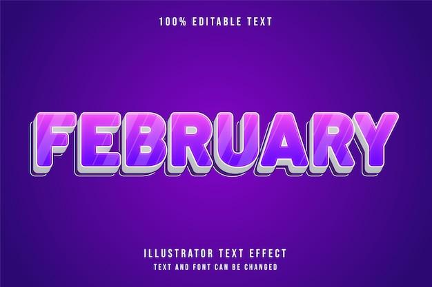 2月、3 d編集可能なテキスト効果紫グラデーションピンクかわいいスタイル